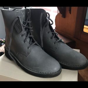 Clarks Combat work boots gray leather NWT SZ 8.5